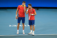 7th January 2020; Sydney Olympic Park Tennis Centre, Sydney, New South Wales, Australia; ATP Cup Australia, Sydney, Day 5; Great Britain versus Moldova;Jamie Murray and Joe Salisbury of Great Britain versus Alexander Cozbinov and Radu Albot of Moldova; Alexander Cozbinov and Radu Albot of Moldova talk tactics during their match against Jamie Murray and Joe Salisbury of Great Britain - Editorial Use