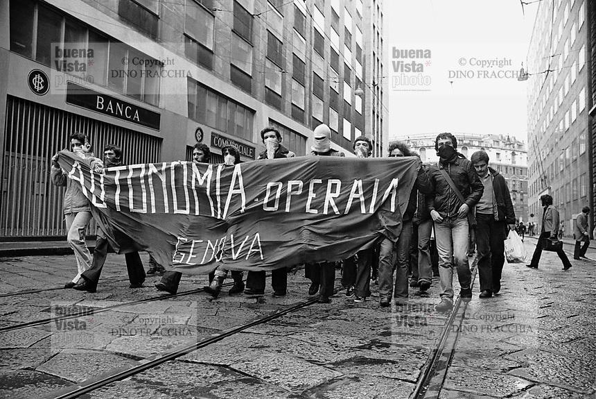 "- demonstration of extreme left radical group ""Workers Autonomy"" (Milan, 1977)..- manifestazione del gruppo di estrema sinistra ""Autonomia Operaia""  (Milano, 1977)"