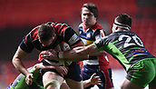 23rd March 2018, Ashton Gate, Bristol, England; RFU Rugby Championship, Bristol versus Yorkshire Carnegie; Nick Haining of Bristol is tackled by Josh Bainbridge of Yorkshire Carnegie on the try line