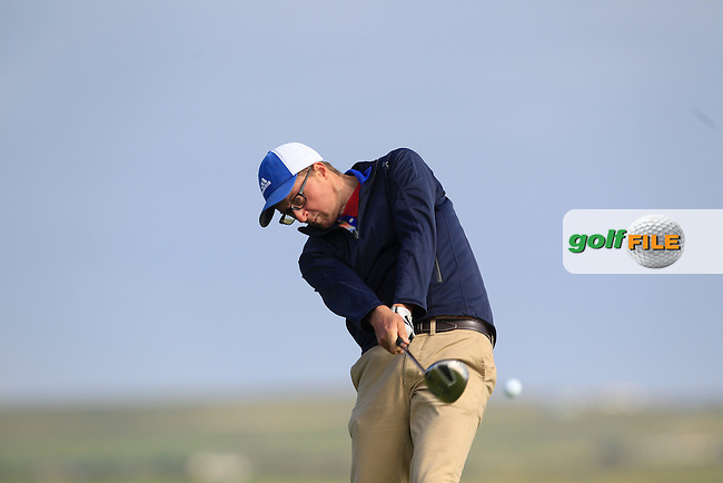 Aaron Moore (Adare Manor) on the 2nd tee during Round 2 of the South of Ireland Amateur Open Championship at LaHinch Golf Club on Thursday 23rd July 2015.<br /> Picture:  Golffile | Thos Caffrey