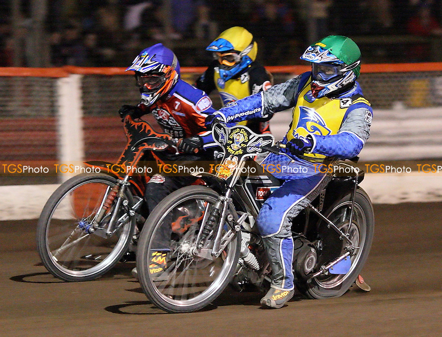 Heat 14 - Povazhny (green), Messing (blue), Gustafsson - Lakeside Hammers vs Eastbourne Eagles - Elite League Speedway at Arena Essex - 19/10/07 - MANDATORY CREDIT: Gavin Ellis/TGSPHOTO - SELF-BILLING APPLIES WHERE APPROPRIATE. NO UNPAID USE -  Tel: 0845 0946026