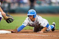 UCLA Bruin third baseman Kevin Kramer (7) dives back to first base during Game 4 of the 2013 Men's College World Series against the LSU Tigers on June 16, 2013 at TD Ameritrade Park in Omaha, Nebraska. UCLA defeated LSU 2-1. (Andrew Woolley/Four Seam Images)