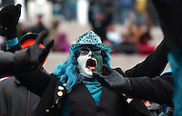 A freakishly dressed Jacksonville Jaguars fan cheers during the Jags game against the Houston Texans at Alltel Stadium in Jacksonville, Fl. (Rick Wilson/The Florida Times-Union)