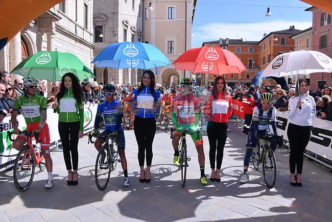 The jerseys lined up for the start of Stage 5 of the 2017 Tirreno Adriatico running 210km from Rieti to Fermo, Italy. 12th March 2017.<br /> Picture: La Presse/Gian Mattia D'Alberto | Cyclefile<br /> <br /> <br /> All photos usage must carry mandatory copyright credit (&copy; Cyclefile | La Presse)