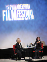 PHILADELPHIA - APRIL 5:  Philadelphia Inquirer Film Critic Carrie Rickey (L) moderates a question and answer session after Academy Award Winning Actress Susan Sarandon (R) accepted the 2006 Artistic Achievement Award during the 2006 Philadelphia Film Festival April 5, 2006 in Philadelphia, Pennsylvania. The festival runs through April 11, 2006. (Photo by William Thomas Cain/Getty Images)