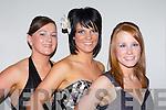 Laura Cahill Rathmore, Catriona O'Sullivan Gneeveguilla and Leanne Riordan Abbeyfeale at the Kingdom Hunt club ball in the Killarney Oaks Hotel on Saturday night..