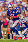 12 October 2014: Buffalo Bills quarterback Kyle Orton looks to make a hand-off during a game against the New England Patriots at Ralph Wilson Stadium in Orchard Park, NY. The Patriots defeated the Bills 37-22 to move into first place in the AFC Eastern Division. Mandatory Credit: Ed Wolfstein Photo *** RAW (NEF) Image File Available ***
