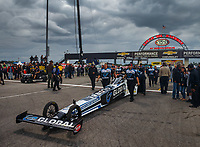 Sep 1, 2017; Clermont, IN, USA; NHRA top fuel driver Shawn Langdon and crew during qualifying for the US Nationals at Lucas Oil Raceway. Mandatory Credit: Mark J. Rebilas-USA TODAY Sports