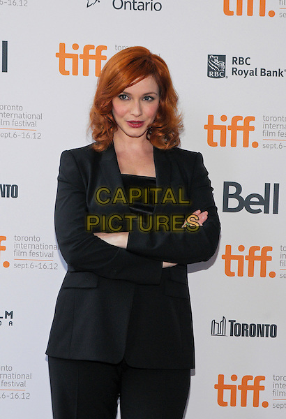 "Christina Hendricks.""American Beauty""  Premiere - 2012 Toronto International Film Festival held at Ryerson Theatre, Toronto, Ontario, Canada..September 6th, 2012.TIFF half length black suit blazer arms crossed .CAP/ADM/BPC.©Brent Perniac/AdMedia/Capital Pictures."