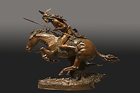 The Cheyenne, bronze sculpture, 1901-3, of a Cheyenne Indian charging on his stallion, holding a spear, by Frederic Remington, 1861-1909, from the collection of the Denver Art Museum, Denver, Colorado, USA. Picture by Manuel Cohen