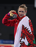 Glasgow 2014 Commonwealth Games<br /> <br /> Francesca Jones (Wales) celebrates gold in the women's Individual Rhythmic Gymnastics apparatus final.<br /> <br /> 26.07.14<br /> ©Steve Pope-SPORTINGWALES