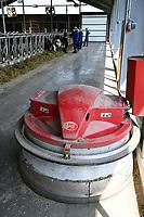 GERMANY, Echem, smart dairy cow milk farm, digitalization of agriculture, automatic fodder slider in charging station / DEUTSCHLAND, Landwirtschaftlichen Bildungszentrum (EBZ) in Echem, Digitalisierung im Kuhstall und Melkstand, Futterschieber Roboter LELY JUNO in Ladestation