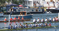 """Henley on Thames, United Kingdom, 7th July 2018, Friday, View, Berk's, Station National Training Centre, AUS,  leading, Leander Club & Molesey BC.,""""Regatta Enclosure, """"Fourth day"""", of the annual,  """"Henley Royal Regatta"""", Henley Reach, River Thames, Thames Valley, England, © Peter SPURRIER,"""
