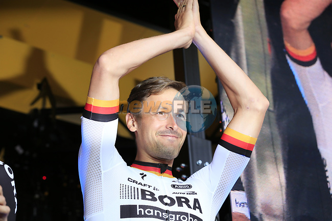 German National Champion Emanuel Buchmann (GER) Bora-Hansgrohe team on stage at the Team Presentation in Burgplatz Dusseldorf before the 104th edition of the Tour de France 2017, Dusseldorf, Germany. 29th June 2017.<br /> Picture: Eoin Clarke | Cyclefile<br /> <br /> <br /> All photos usage must carry mandatory copyright credit (&copy; Cyclefile | Eoin Clarke)