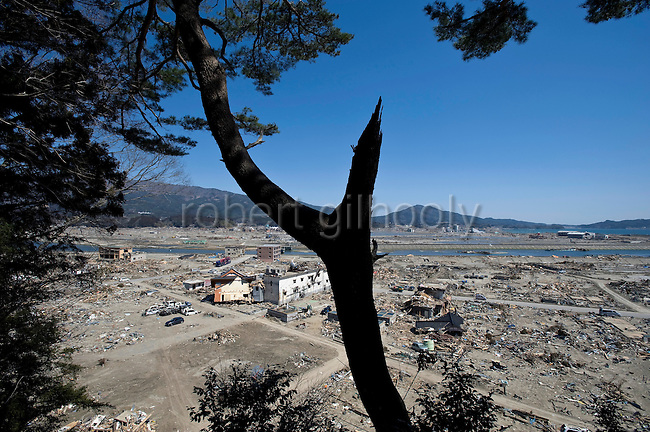 Photo shows the view of the wreckage following the March 11 magnitude 9 quake and subsequent tsunami in Rikuzentakata on April 6, 2011..Photographer: Robert Gilhooly