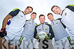 Killarney Legion players Podge O'Connor, James O'Donoghue, Brian Kelly, Jonathan Lyne and Conor Keane Kerry Senior footballers at their press day at Fitzgerald Stadium on Saturday.
