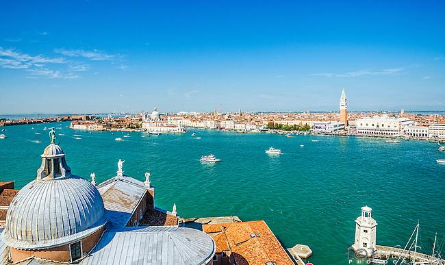 View from San Giorgio Camoanile over Venice and Giudecca Canal, Italy