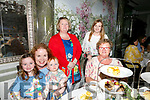 Enjoying the Jack and Jill Foundation afternoon charity tea event to mark 20th anniversary at the Rose Hotel on Saturday were Jean McGuire, Jack McGuire, Moira McGuire, Eileen Brennan, Elaine Kelliher, Chloe Kelliher