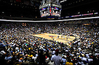 Wide angle view during an NBA basketball game Time Warner Cable Arena in Charlotte, NC.