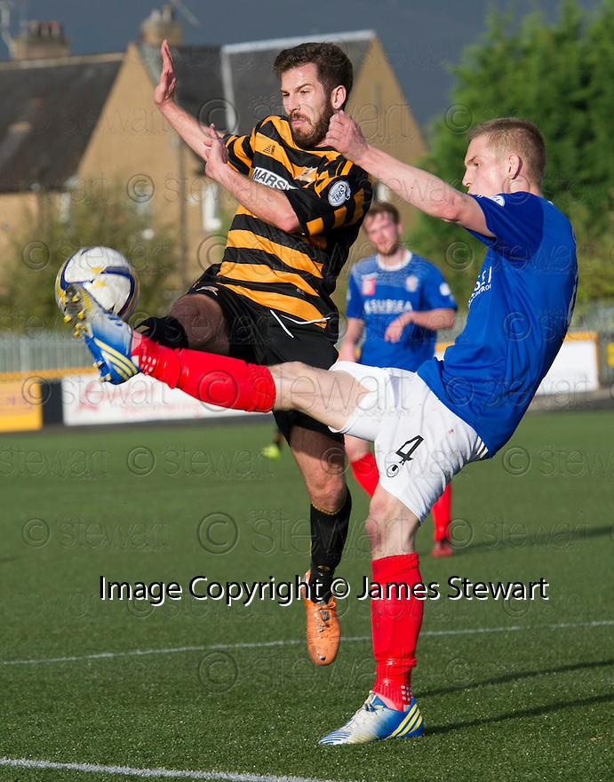 Alloa's Liam Buchanan and Cowdenbeath's Thomas O'Brien challenge for the ball.