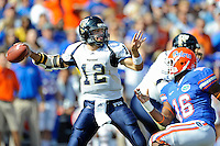 21 November 2009:  FIU quarterback Paul McCall (12) throws in the first quarter as the University of Florida Gators defeated the FIU Golden Panthers, 62-3, at Ben Hill Griffin Stadium in Gainesville, Florida.