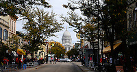 The Wisconsin State Capitol can be seen through the autumn trees on Saturday, October 3, 2015 in Madison, Wisconsin