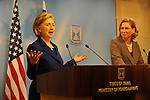 US Secretary of State Hillary Clinton and Israel's Foreign Minister Tzipi Livni, during a joint press conference, in Jerusalem, Israel, on Tuesday, Mar. 30, 2009. Photographer: Ahikam Seri