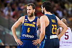 Spain's basketball player Sergio Rodriguez and Sergio Llull during the  match of the preparation for the Rio Olympic Game at Madrid Arena. July 23, 2016. (ALTERPHOTOS/BorjaB.Hojas)