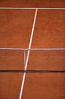 France, Paris, 31.05.2014. Tennis, French Open, Roland Garros, Tenniscourt with net.<br /> Photo:Tennisimages/Henk Koster