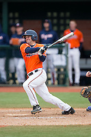 Kenny Towns (9) of the Virginia Cavaliers follows through on his swing against the Seton Hall Pirates at The Ripken Experience on February 28, 2015 in Myrtle Beach, South Carolina.  The Cavaliers defeated the Pirates 4-1.  (Brian Westerholt/Four Seam Images)