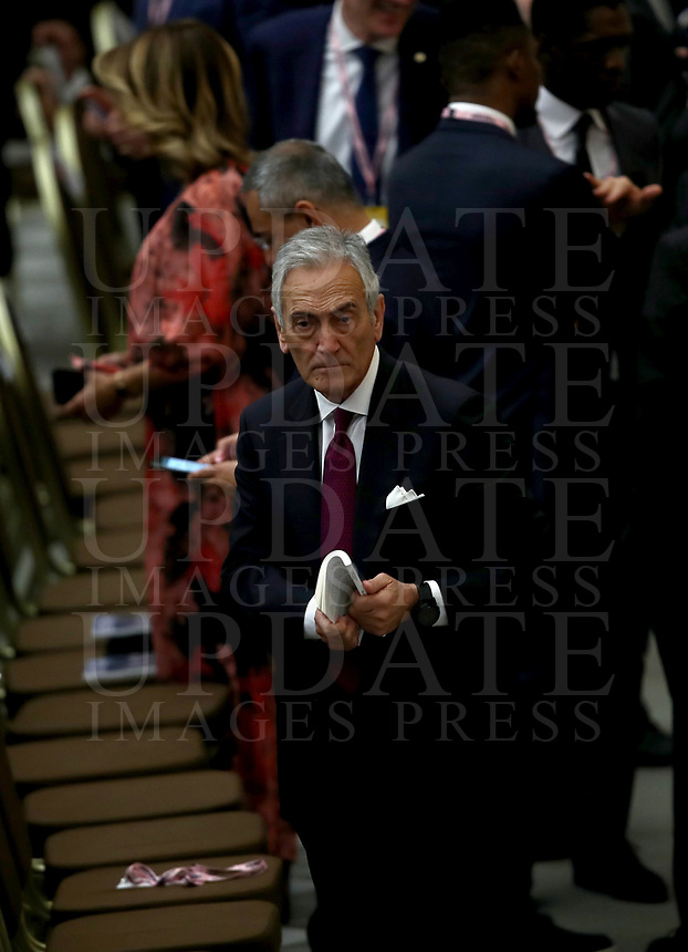 Italian Football Federation (FIGC) President Gabriele Gravina, together with managers and members of the federation and Gazzetta dello Sport newspaper, takes part in an audience with the Pope in Paul VI Hall at the Vatican, on May 24, 2019.<br /> UPDATE IMAGES PRESS/Isabella Bonotto<br /> <br /> STRICTLY ONLY FOR EDITORIAL USE