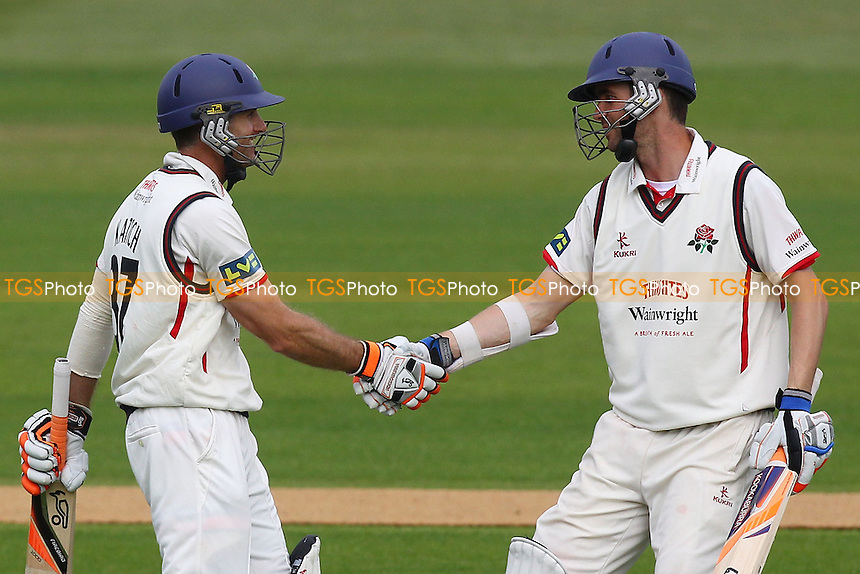 Simon Katich (L) of Lancashire is congratulated on his century by Kyle Hogg - Essex CCC vs Lancashire CCC - LV County Championship Division Two Cricket at the Essex County Ground, Chelmsford - 13/06/13 - MANDATORY CREDIT: Gavin Ellis/TGSPHOTO - Self billing applies where appropriate - 0845 094 6026 - contact@tgsphoto.co.uk - NO UNPAID USE