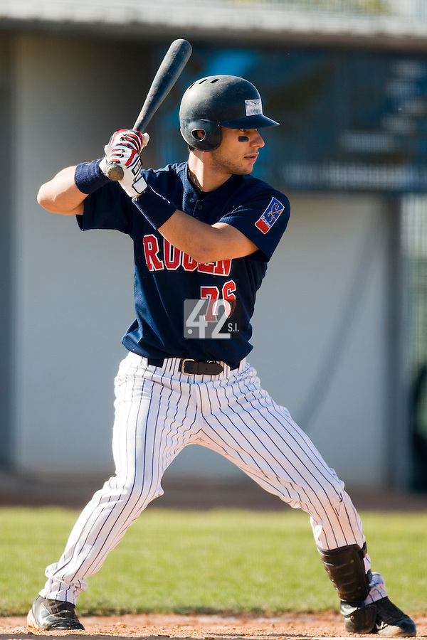 11 Oct 2008: Romain David is seen at bat during game 1 of the french championship finals between Templiers (Senart) and Huskies (Rouen) in Chartres, France. The Templiers win 5-2 over the Huskies
