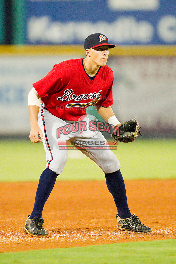 Shortstop Nick Ahmed #22 of the Danville Braves on defense against the Burlington Royals at Burlington Athletic Park on August 12, 2011 in Burlington, North Carolina.  The Braves defeated the Royals 8-3.   (Brian Westerholt / Four Seam Images)