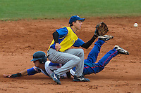 18 August 2010: Maxime Lefevre of Team France divers safely into second base during the France 7-3 win over Ukraine, at the 2010 European Championship, under 21, in Brno, Czech Republic.