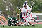 Palos Verdes, CA 04/20/10 - Jake Macer (Palos Verdes #10), Zach Henkhaus (Palos Verdes #12) and Ryan Silver (Mira Costa #14) in action during the Mira Costa-Palos Verdes boys lacrosse game.