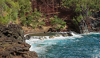 Red sand beach on Maui in Hawaii