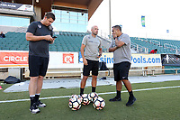 Cary, North Carolina  - Saturday September 09, 2017: Ryan Sandford, Kenneth Bundy, and Omar Morales prior to a regular season National Women's Soccer League (NWSL) match between the North Carolina Courage and the Houston Dash at Sahlen's Stadium at WakeMed Soccer Park. The Courage won the game 1-0.