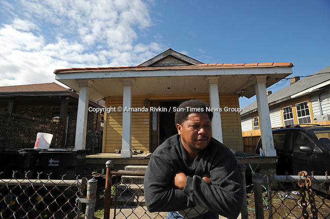 Michael Daniels, 41, outside the home he spent $40,000 to rebuilt with his own personal funds as well as with money from the federally-assisted Road Home program in the Hollygrove section of New Orleans, Louisiana on March 11, 2008.