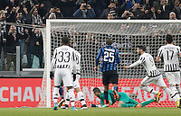 Calcio, semifinali di andata di Coppa Italia: Juventus vs Inter. Torino, Juventus Stadium, 27 gennaio 2016.<br /> Juventus&rsquo; Alvaro Morata, second from right, celebrates after scoring on a penalty kick during the Italian Cup semifinal first leg football match between Juventus and FC Inter at Juventus stadium, 27 January 2016.<br /> UPDATE IMAGES PRESS/Isabella Bonotto