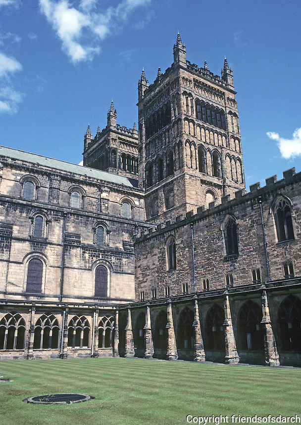 Durham: Durham Cathedral--Cloisters and West Towers. Photo '90.