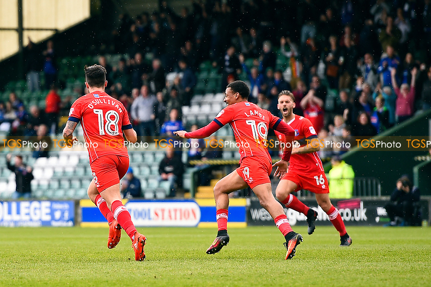 John O'Sullivan of Carlisle United left celebrates his goal with Reggie Lambe and James Bailey during Yeovil Town vs Carlisle United, Sky Bet EFL League 2 Football at Huish Park on 1st April 2017