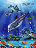 Interlitho, Lorenzo, REALISTIC ANIMALS, paintings, dolphins, wreck(KL3953,#A#) realistische Tiere, realista, illustrations, pinturas ,puzzles