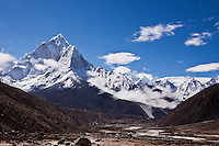 The village of Periche lies nestled in a valley below the soaring snow-capped peak of Ama Dablam in the Nepalese Himalayas.