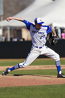 Air Force Falcons pitcher Nathan Stanford (27) delivers a pitch to the plate during the NCAA season opening baseball game against the Washington Huskies on February 14, 2014 at Bobcat Ballpark in San Marcos, Texas. Air Force defeated Washington 14-9. (Andrew Woolley/Four Seam Images)