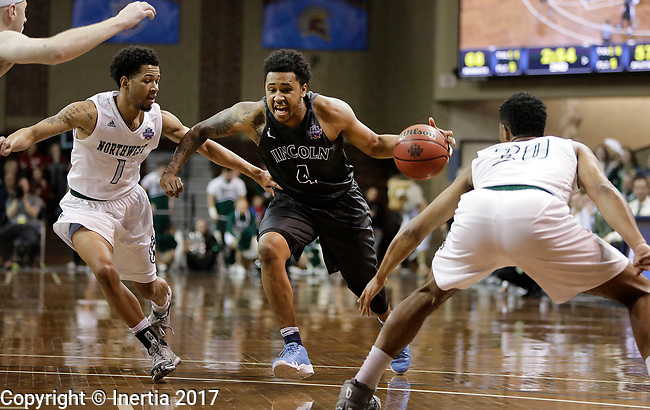 SIOUX FALLS, SD: MARCH 23: Deshawn Patterson #4 of Lincoln Memorial drives between Northwest Missouri State defenders Justin Pitts #1 and Anthony Woods #20 during the Men's Division II Basketball Championship Tournament on March 23, 2017 at the Sanford Pentagon in Sioux Falls, SD. (Photo by Dick Carlson/Inertia)