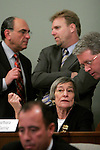 Committee chairwoman Illinois House Majority Leader Rep. Barbara Flynn Currie, D-Chicago, center, confers with House minority spokesperson Rep. Jim Durkin, R-Western Springs, right, during the third committee meeting to impeach Gov. Rod Blagojevich at the Illinois State Capitol in Springfield, Ill., Dec. 18, 2008. .Kristen Schmid Schurter