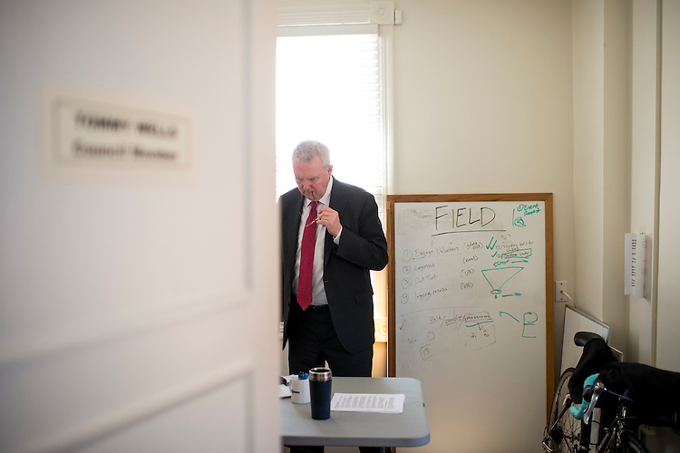 UNITED STATES - MARCH 31: DC Ward 6 city councilman and candidate for DC Mayor Tommy Wells works from his campaign headquarters on Capitol Hill the day before the DC Democratic primary election. (Photo By Bill Clark/CQ Roll Call)