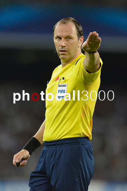 Jonas Eriksson Referee of SWE during the match between SSC Napoli and Athletic Club Bilbao, play-offs First leg Champions League at the San Paolo Stadium onTuesday August 19, 2014 in Napoli, Italy. (Photo by Marco Iorio)<br />