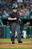 Home plate umpire Jennifer Pawol during the South Atlantic League game between the Hickory Crawdads and the Ocelotes de Greensboro at First National Bank Field on June 11, 2019 in Greensboro, North Carolina. The Crawdads defeated the Ocelotes 2-1. (Brian Westerholt/Four Seam Images)